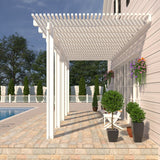 12 ft. Deep x 24 ft. Wide White Attached Aluminum Pergola -5 Posts - (20lb Low/Medium Snow Area)