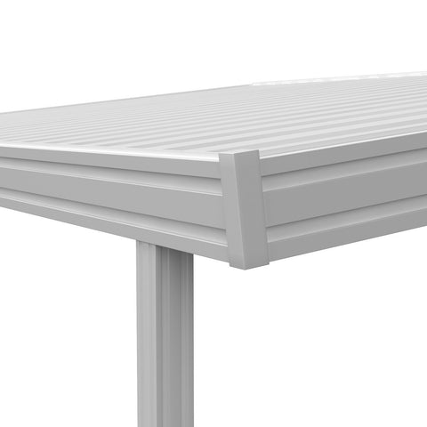 10 ft. Deep x 16 ft. Wide White Attached Aluminum Carport -3 Posts - (10lb Low Snow Area)