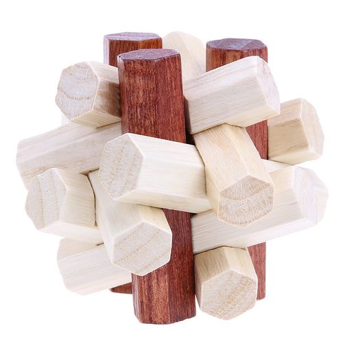 3D Interlocking Wooden Poles Puzzle