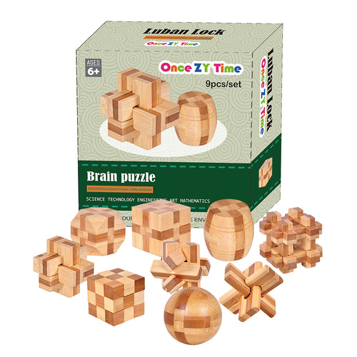 9pc Set of  3D wooden brain teaser puzzles