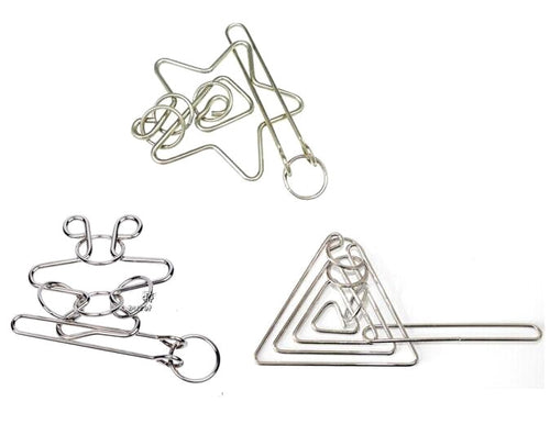 6 Different Metal Wire Puzzles To Chose From
