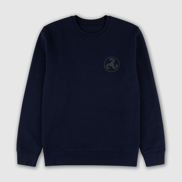 BLACK ON NAVY PUFF PRINT SWEATSHIRT
