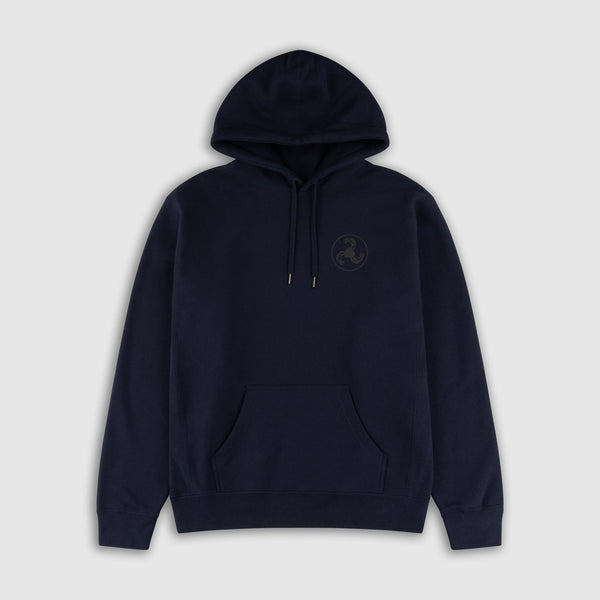 BLACK ON NAVY PUFF PRINT HOODIE