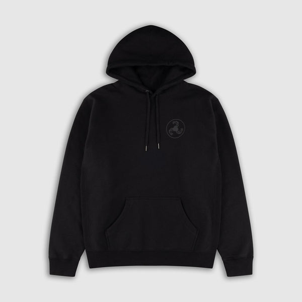 BLACK ON BLACK PUFF PRINT HOODIE