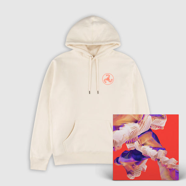CORAL RED ON IVORY PUFF PRINT HOODIE + ISLES