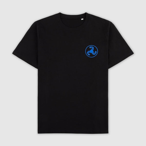 BLUE LOGO PUFF PRINT BLACK T-SHIRT