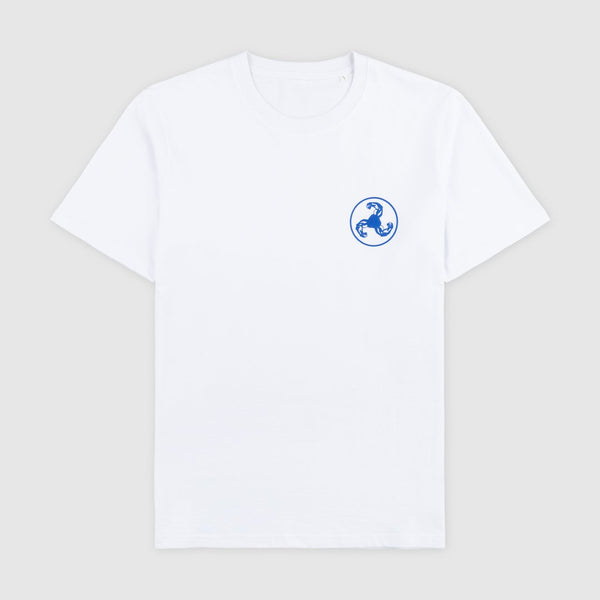 BLUE LOGO PUFF PRINT WHITE T-SHIRT