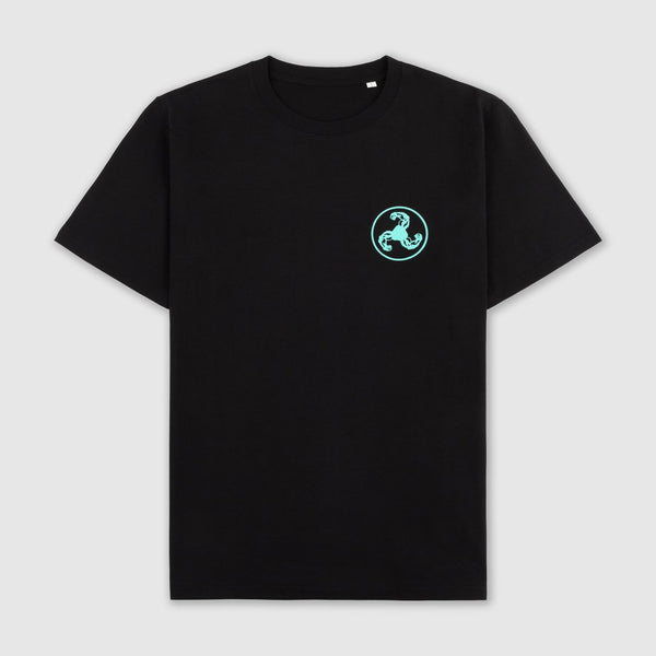 GREEN LOGO PUFF PRINT BLACK T-SHIRT