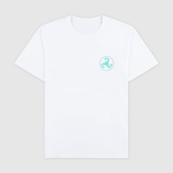 GREEN LOGO PUFF PRINT WHITE T-SHIRT