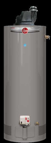 RHEEM PROG50-42P-RH67-PV 50 GALLON TALL CLASSIC LIQUID PROPANE POWER VENT WATER HEATER WITH T&P INSTALLED TO 7700 ELEVATION 6 YEAR TANK/6 YEAR PARTS/1 YEAR LABOR 62 HEIGHT 213/4 DIAMETER