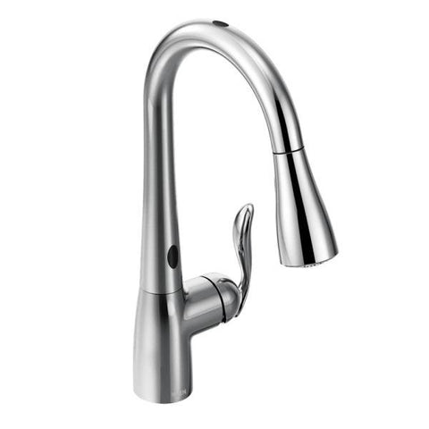 MOEN 7594EC POLISHED CHROME ARBOR 1 HOLE DECK MOUNT SINGLE LEVER HANDLE HIGH ARC KITCHEN FAUCET WITH PULL-OUT SPRAY AND MOTIONSENSE