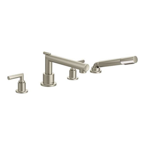 MOEN TS93004 BRUSHED NICKEL ARRIS 4 HOLE DECK MOUNT 2 LEVER HANDLE ROMAN TUB FAUCET TRIM WITH HANDSHOWER
