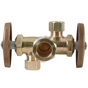 BRASSCRAFT CR1901DVX-R 1/2X3/8ODX3/8OD COMPXCOMPXCOMP ROUGH BRASS DUAL OUTLET DUAL SHUT-OFF ANGLE STOP