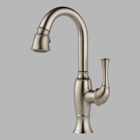 BRIZO 63903LF-SS STAINLESS TALO 1 HOLE DECK MOUNT PULL-DOWN SINGLE LEVER HANDLE BAR/PREP FAUCET WATER EFFICIENT LEAD FREE CA/VT COMPLIANT ADA