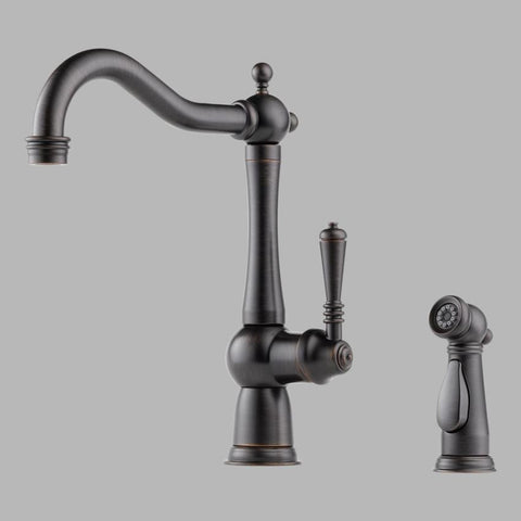BRIZO 61136LF-RB VENETIAN BRONZE TRESA 2 HOLE DECK MOUNT SINGLE LEVER HANDLE KITCHEN FAUCET WITH SIDESPRAY WATER EFFICIENT LEAD FREE CA/VT COMPLIANT ADA