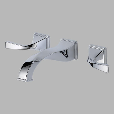BRIZO 65830LF-PC POLISHED CHROME VIRAGE 3 HOLE WALL MOUNT 8 CENTERSET 2 LEVER HANDLE LAVATORY FAUCET WITH POP-UP WATERSENSE LEAD FREE CA/VT COMPLIANT ADA