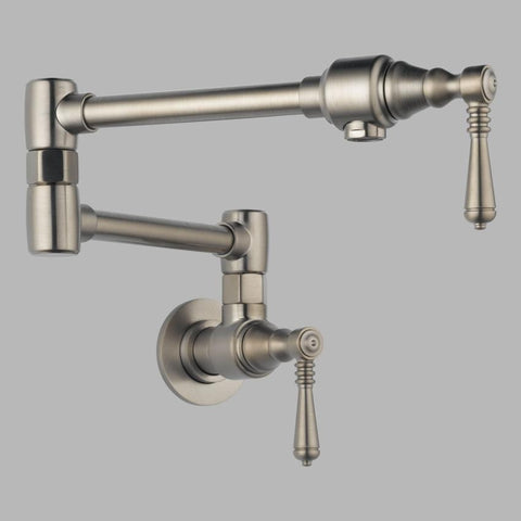 BRIZO 62810LF-SS 2 LEVER HANDLE STAINLESS 1 HOLE TRADITIONAL WALL MOUNT POT FILLER WITH ABRASION RESISTANT FINISH LEAD FREE CA/VT COMPLIANT ADA