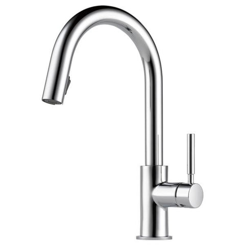 BRIZO 63020LF-PC POLISHED CHROME SOLNA 1 HOLE DECK MOUNT PULL-DOWN SINGLE LEVER HANDLE KITCHEN FAUCET WATER EFFICIENT LEAD FREE CA/VT COMPLIANT ADA