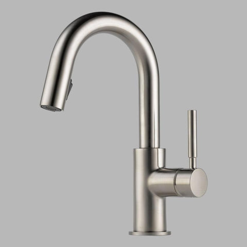 BRIZO 63920LF-SS STAINLESS SOLNA 1 HOLE DECK MOUNT PULL-DOWN SINGLE LEVER HANDLE BAR/PREP FAUCET WATER EFFICIENT LEAD FREE CA/VT COMPLIANT ADA