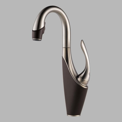 BRIZO 63955LF-SSCO COCOA BRONZE/STAINLESS STEEL VUELO 1 HOLE DECK MOUNT SINGLE LEVER HANDLE WATERFALL BAR/PREP FAUCET WITH SMARTTOUCH LEAD FREE