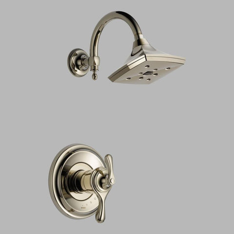 BRIZO T60285-PN POLISHED NICKEL CHARLOTTE 2 HOLE WALL MOUNT MEDIUM FLOW SINGLE LEVER HANDLE SHOWER TRIM WATERSENSE ADA