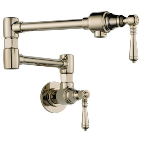 BRIZO 62810LF-PN 2 LEVER HANDLE POLISHED NICKEL 1 HOLE TRADITIONAL WALL MOUNT POT FILLER WITH ABRASION RESISTANT FINISH LEAD FREE CA/VT COMPLIANT ADA