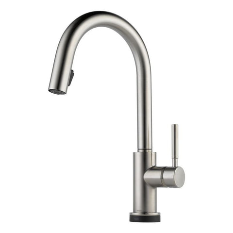 BRIZO 64020LF-SS STAINLESS SOLNA 1 HOLE DECK MOUNT PULL-DOWN SINGLE LEVER HANDLE KITCHEN FAUCET WITH SMARTTOUCH TECHNOLOGY WATER EFFICIENT LEAD FREE CA/VT COMPLIANT ADA