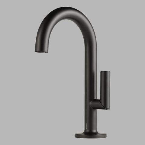 BRIZO 65675LF-BL MATTE BLACK ODIN 1 HOLE DECK MOUNT SINGLE LEVER HANDLE LAVATORY FAUCET WITH POP-UP & SMARTTOUCH PLUS WATERSENSE LEAD FREE