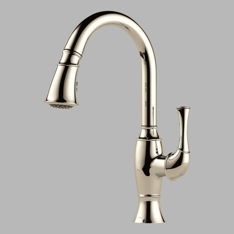 BRIZO 63003LF-PN POLISHED NICKEL TALO 1 HOLE DECK MOUNT SINGLE LEVER HANDLE KITCHEN FAUCET WITH 2 BUTTON 4 FUNCTION SPRAY WAND WATER EFFICIENT LEAD FREE