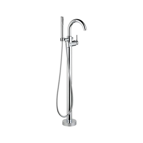 DELTA T4759-FL POLISHED CHROME TRINSIC 1 HOLE FLOOR MOUNT SINGLE LEVER HANDLE TUB FILLER WITH HANDSHOWER