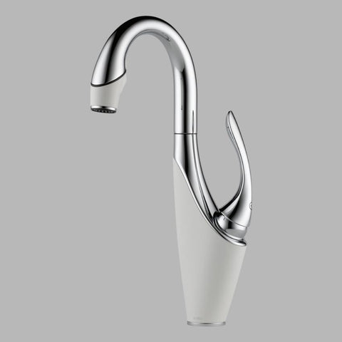 BRIZO 63955LF-PCMW POLISHED CHROME/MATTE WHITE VUELO 1 HOLE DECK MOUNT SINGLE LEVER HANDLE WATERFALL BAR/PREP FAUCET WITH SMARTTOUCH LEAD FREE