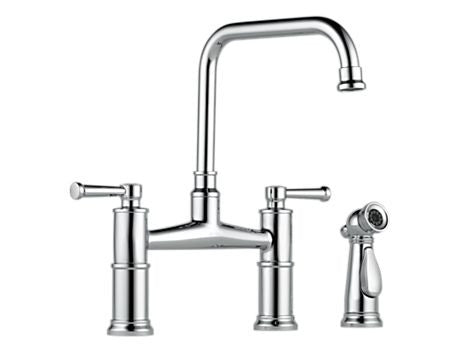 BRIZO 62525LF-PC POLISHED CHROME ARTESSO 2 HOLE DECK MOUNT 8 CENTERSET 2 LEVER HANDLE KITCHEN FAUCET WITH SIDE SPRAY LEAD FREE