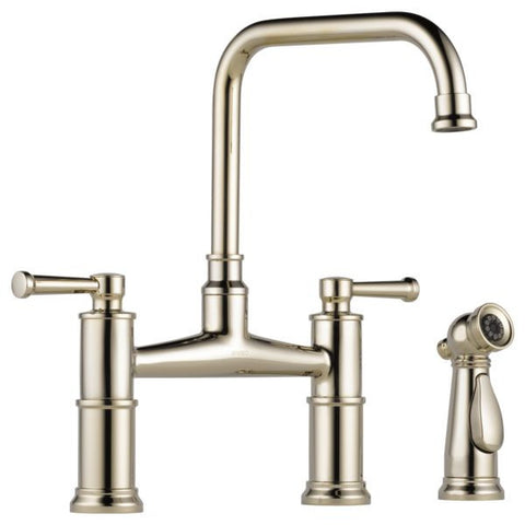 BRIZO 62525LF-PN POLISHED NICKEL ARTESSO 2 HOLE DECK MOUNT 8 CENTERSET 2 LEVER HANDLE KITCHEN FAUCET WITH SIDE SPRAY LEAD FREE