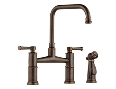 BRIZO 62525LF-RB VENETIAN BRONZE ARTESSO 2 HOLE DECK MOUNT 8 CENTERSET 2 LEVER HANDLE KITCHEN FAUCET WITH SIDE SPRAY LEAD FREE