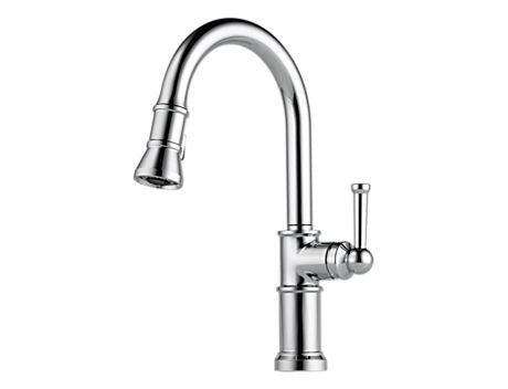 BRIZO 63025LF-PC POLISHED CHROME ARTESSO 1 OR 3 HOLE DECK MOUNT 8 CENTERSET SINGLE LEVER HANDLE KITCHEN FAUCET WITH PULL DOWN SPRAY LEAD FREE