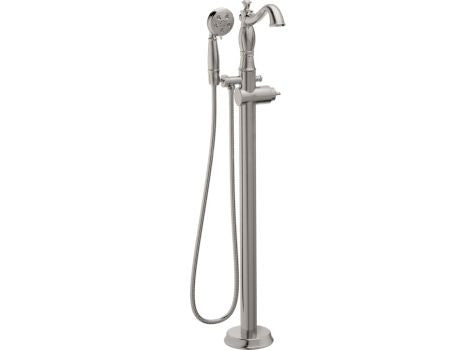 DELTA T4797-SSFL-LHP STAINLESS TRADITIONAL 1 HOLE FLOOR MOUNT SINGLE LEVER HANDLE TUB FILLER WITH HANDSHOWER