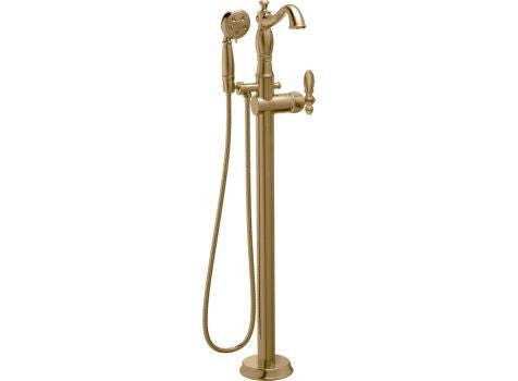 DELTA T4797-CZFL-LHP CHAMPAGNE BRONZE CASSIDY 1 HOLE FLOOR MOUNT SINGLE LEVER HANDLE TUB FILLER WITH HANDSHOWER