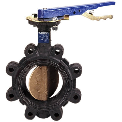 NIBCO LC20003 4 LUG CAST IRON 200PSI STANDARD BUTTERFLY VALVE WITH EPDM SEAT ALUMINUM BRONZE DISC 416 STAINLESS STEEL STEM COPPER ALLOY BUSHING BRASS COLLAR