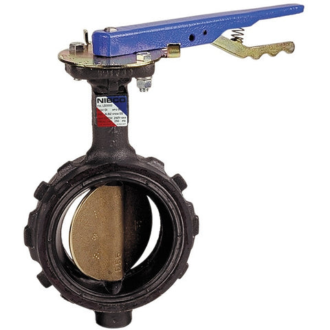 NIBCO WD20003 6 WAFER DUCTILE IRON 200PSI STANDARD BUTTERFLY VALVE WITH EPDM SEAT ALUMINUM BRONZE DISC 416 STAINLESS STEEL STEM COPPER ALLOY BUSHING BRASS COLLAR