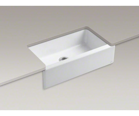 KOHLER K-6546-4U-0 WHITE CAST IRON DICKINSON 33X221/8X8 4 HOLE UNDERMOUNT SINGLE BOWL KITCHEN SINK