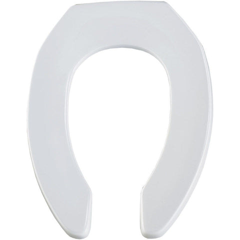 BEMIS 1955SSCT-000 WHITE PLASTIC ELONGATED OPEN FRONT TOILET SEAT LESS COVER