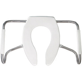 BEMIS MA2155T-000 WHITE STAMA PLASTIC ELONGATED OPEN FRONT TOILET SEAT LESS COVER