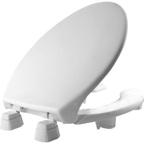 BEMIS 2L2150-000 WHITE PLASTIC ELONGATED OPEN FRONT TOILET SEAT WITH COVER AND 2 LIFT