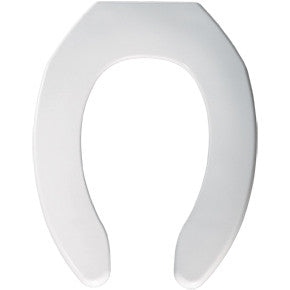 BEMIS 1055-000 WHITE PLASTIC ELONGATED OPEN FRONT TOILET SEAT LESS COVER
