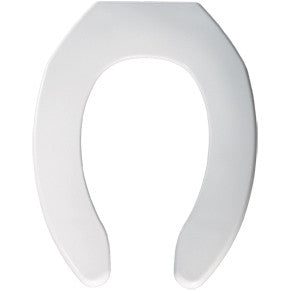BEMIS 1055SSC-000 WHITE PLASTIC ELONGATED OPEN FRONT TOILET SEAT WITH STAINLESS STEEL HINGE LESS COVER
