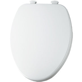 CHURCH 585EC-000 WHITE EZ-CLEAN WOOD ELONGATED CLOSED FRONT TOILET SEAT WITH COVER