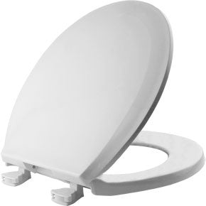 BEMIS 100EC-000 WHITE EZ-CLEAN PLASTIC ROUND CLOSED FRONT TOILET SEAT WITH COVER