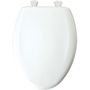BEMIS 1200SLOWT-000 WHITE EASY-2 PLASTIC ELONGATED CLOSED FRONT SLOW CLOSE TOILET SEAT WITH COVER AND STA-TITE BOLTS
