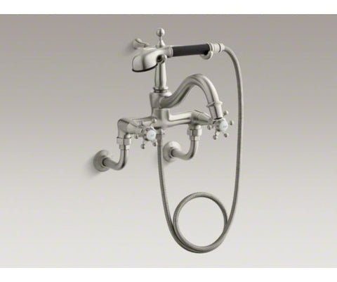 KOHLER K-110-3-BN BRUSHED NICKEL ANTIQUE DECK MOUNT 2 CROSS HANDLE BATHTUB FAUCET