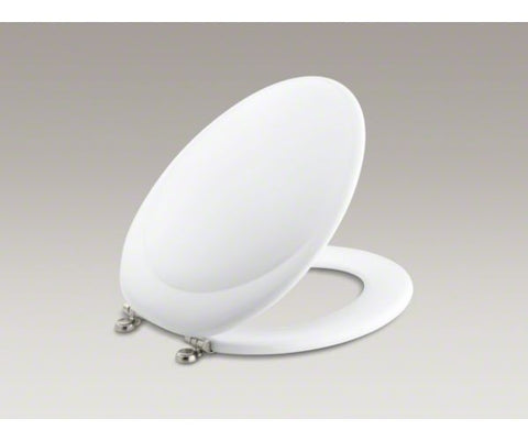 KOHLER K-4615-BN-0 WHITE REVIVAL WOOD CLOSED FRONT ELONGATED TOILET SEAT WITH COVER AND BRUSHED NICKEL HINGES